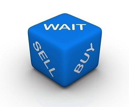 trade management Trading Psychology - picture showing a blue cube with the words written in large font white capital letters saying wait, sell and buy