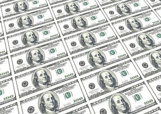 Bond Categories - Treasury Bonds; picture of United States of America money with one hundred dollar bills in large sheet printed out from a government money printing machine